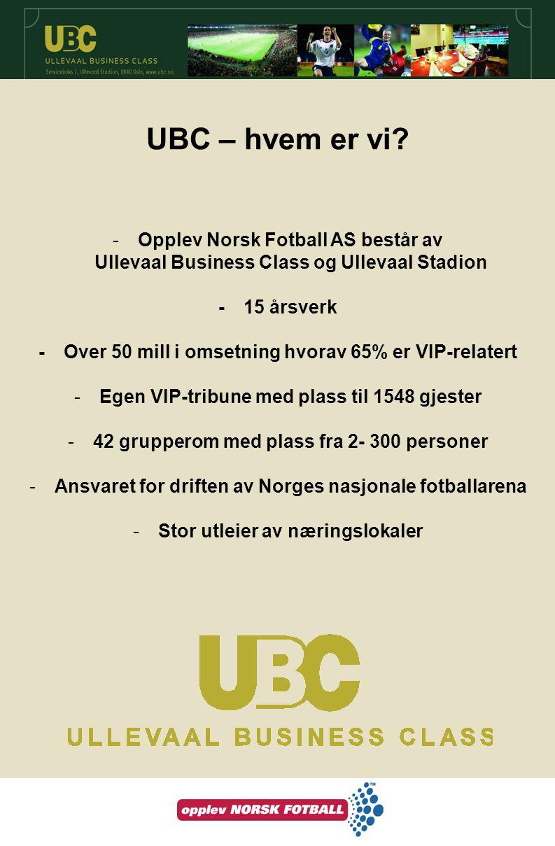 UBC – hvem er vi Opplev Norsk Fotball AS består av