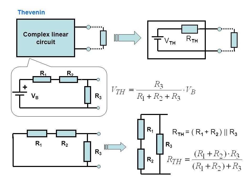 RTH VTH RTH = ( R1 + R2 ) || R3 Thevenin Complex linear circuit VB R1
