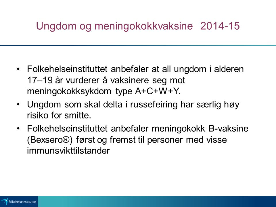 Ungdom og meningokokkvaksine 2014-15