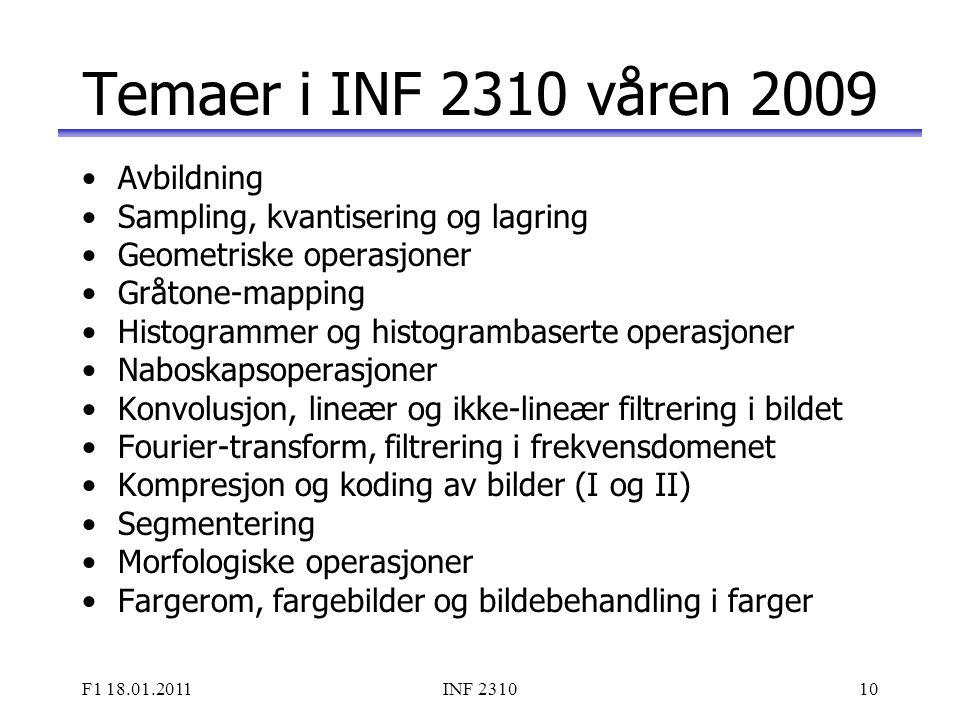 Temaer i INF 2310 våren 2009 Avbildning