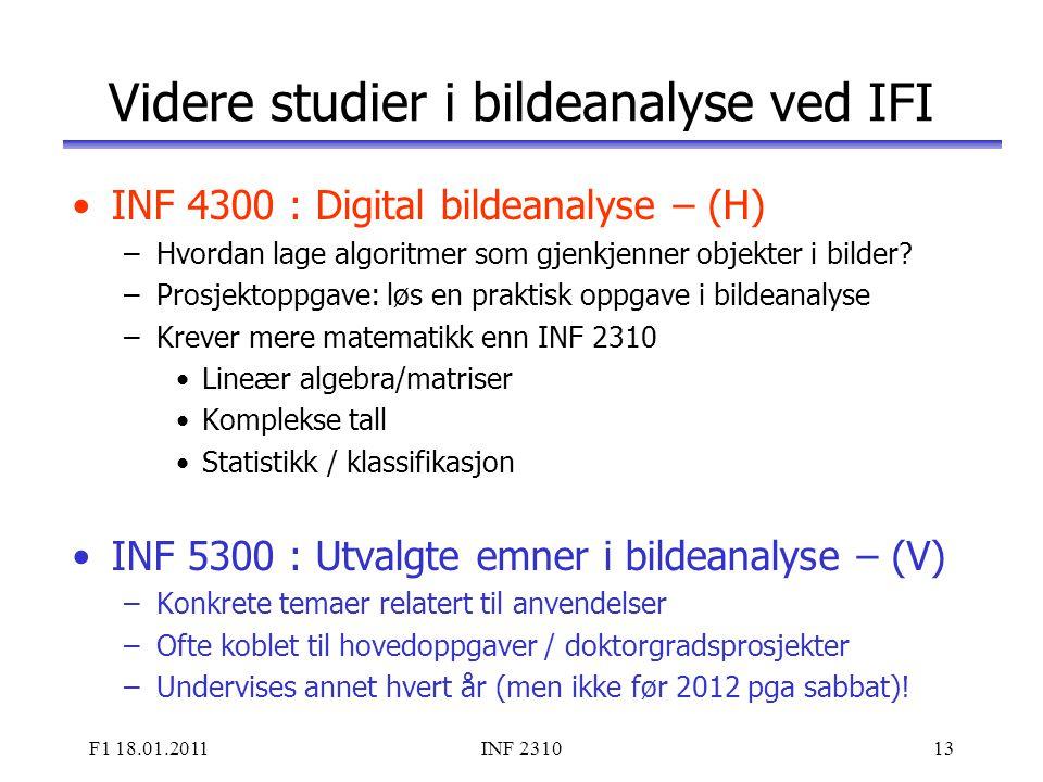 Videre studier i bildeanalyse ved IFI