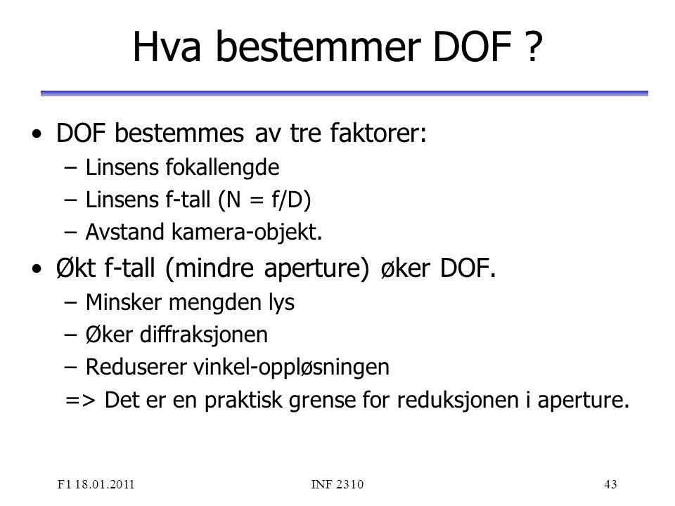 Hva bestemmer DOF DOF bestemmes av tre faktorer: