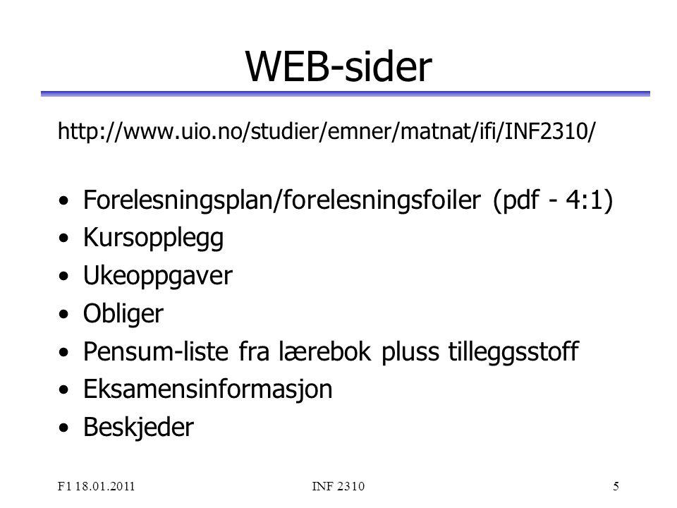 WEB-sider Forelesningsplan/forelesningsfoiler (pdf - 4:1) Kursopplegg
