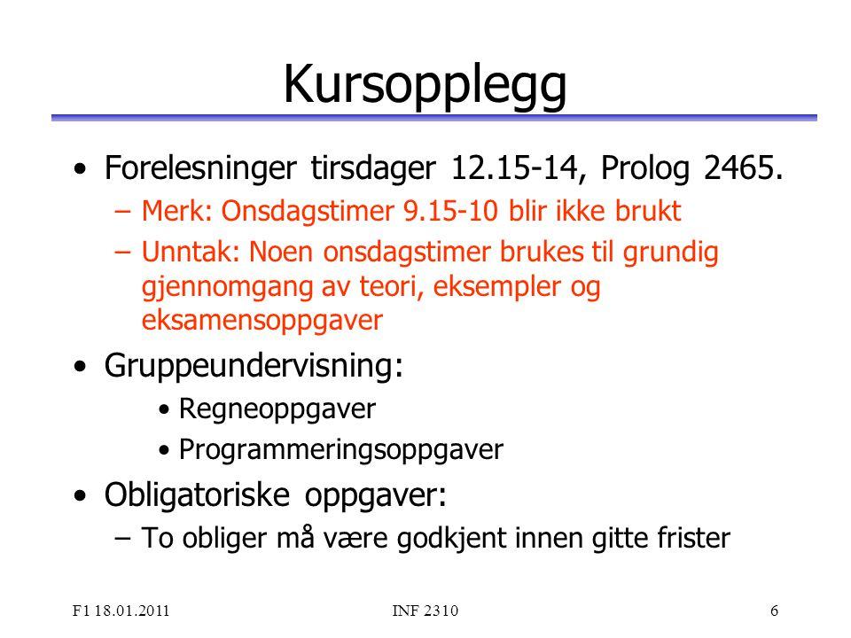 Kursopplegg Forelesninger tirsdager 12.15-14, Prolog 2465.