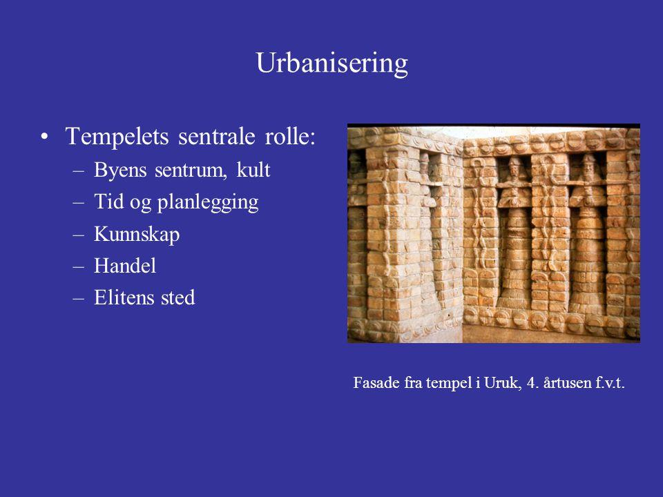 Urbanisering Tempelets sentrale rolle: Byens sentrum, kult