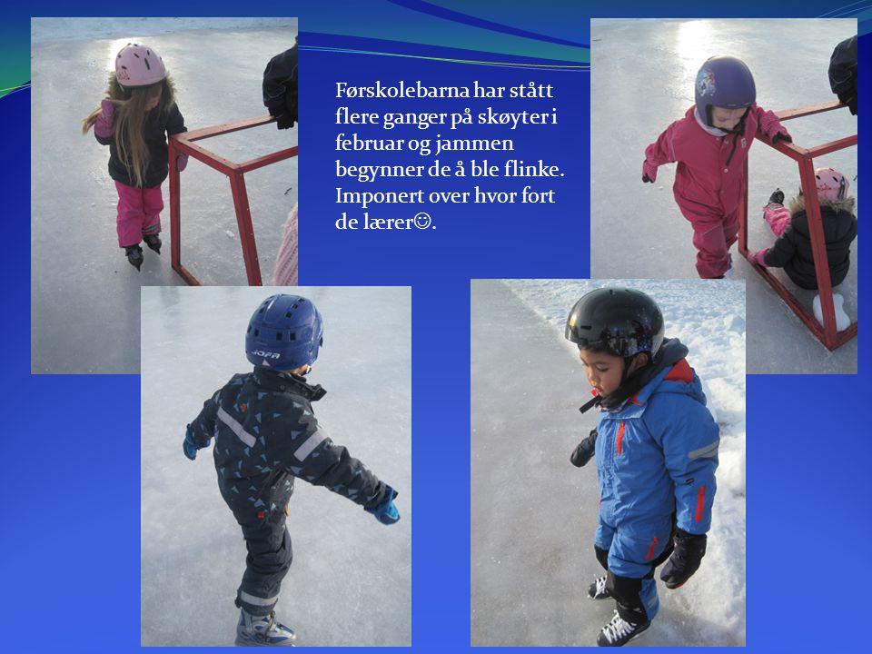 Førskolebarna har stått flere ganger på skøyter i februar og jammen begynner de å ble flinke.