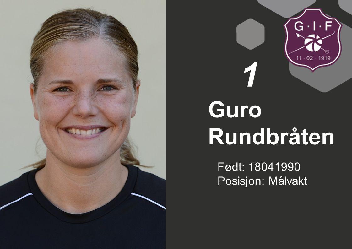 1 Guro Rundbråten Født: 18041990 Posisjon: Målvakt