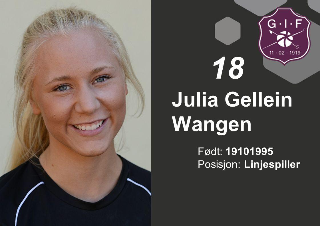 18 Julia Gellein Wangen Født: 19101995 Posisjon: Linjespiller