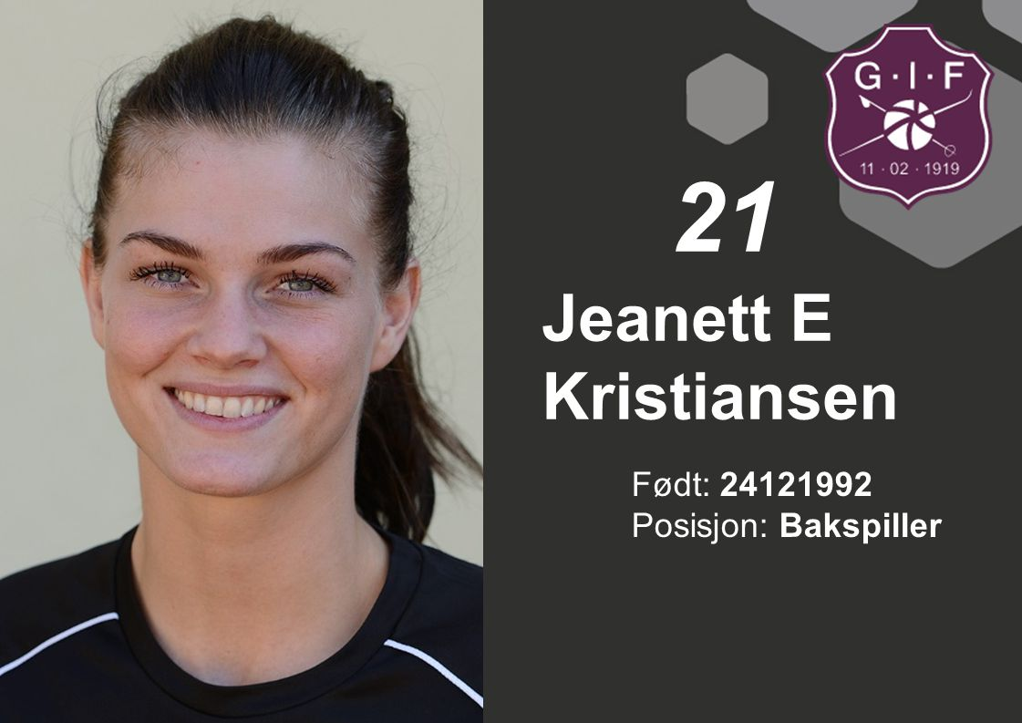 21 Jeanett E Kristiansen Født: 24121992 Posisjon: Bakspiller