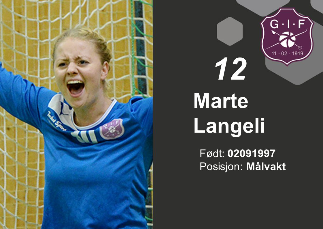 12 Marte Langeli Født: 02091997 Posisjon: Målvakt