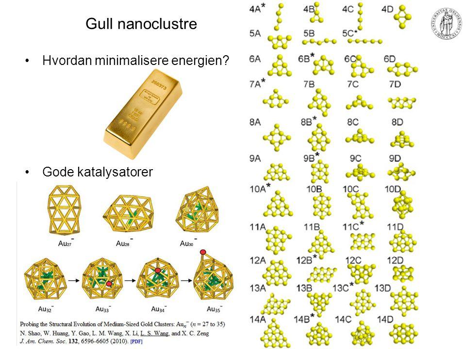 Gull nanoclustre Hvordan minimalisere energien Gode katalysatorer