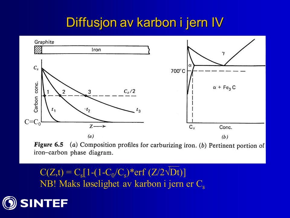 Diffusjon av karbon i jern IV