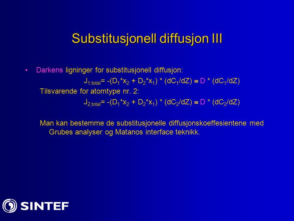 Substitusjonell diffusjon III
