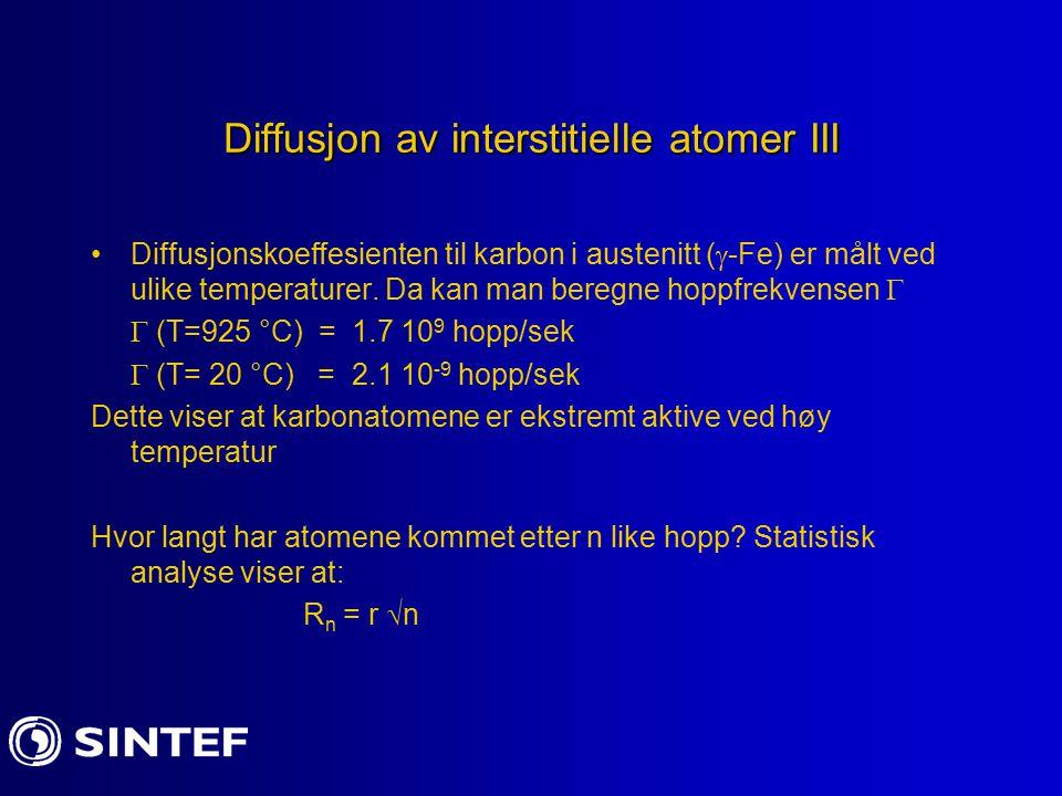 Diffusjon av interstitielle atomer III