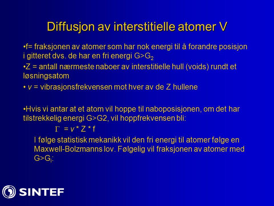 Diffusjon av interstitielle atomer V