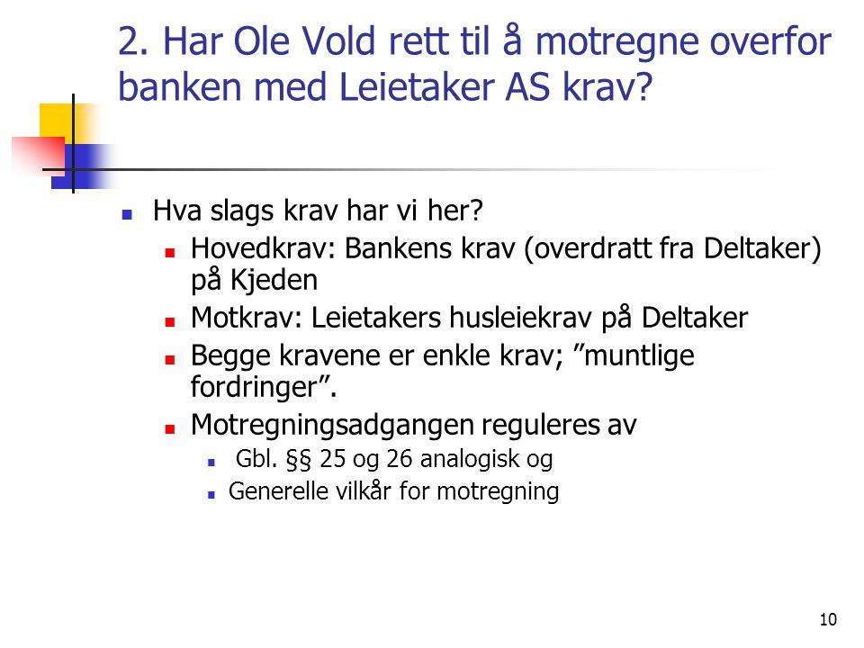 2. Har Ole Vold rett til å motregne overfor banken med Leietaker AS krav