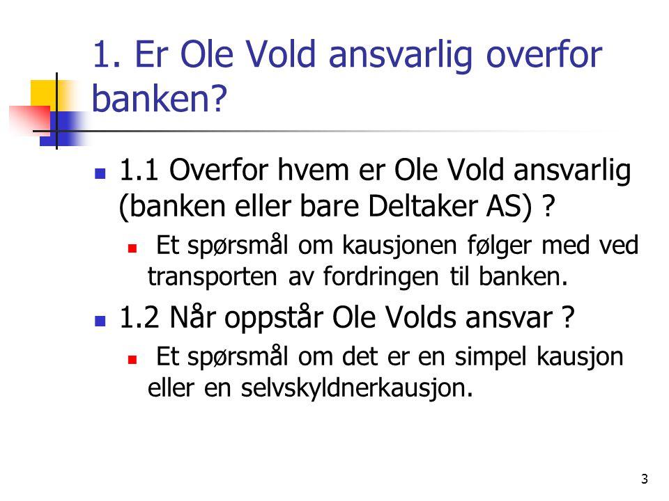 1. Er Ole Vold ansvarlig overfor banken