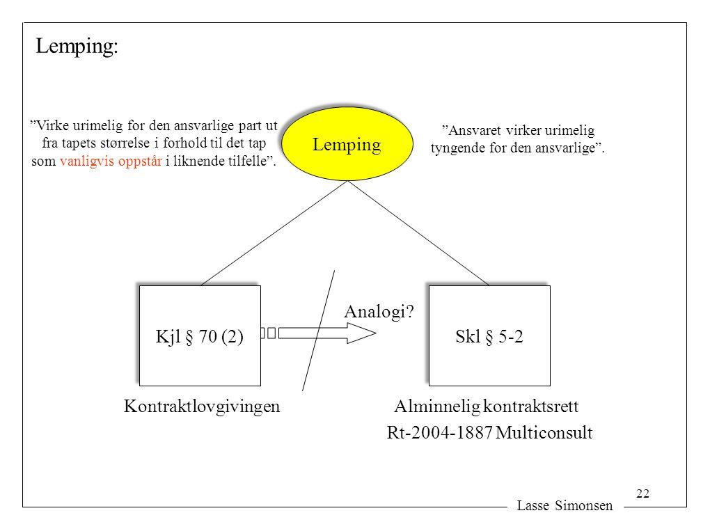 Lemping: Lemping Kjl § 70 (2) Skl § 5-2 Analogi Kontraktlovgivingen