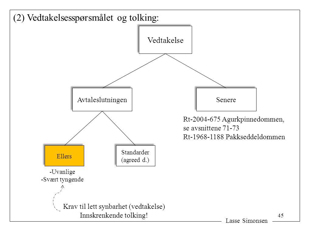 (2) Vedtakelsesspørsmålet og tolking: