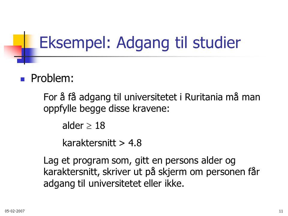 Eksempel: Adgang til studier