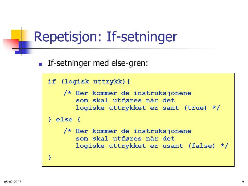 Repetisjon: If-setninger
