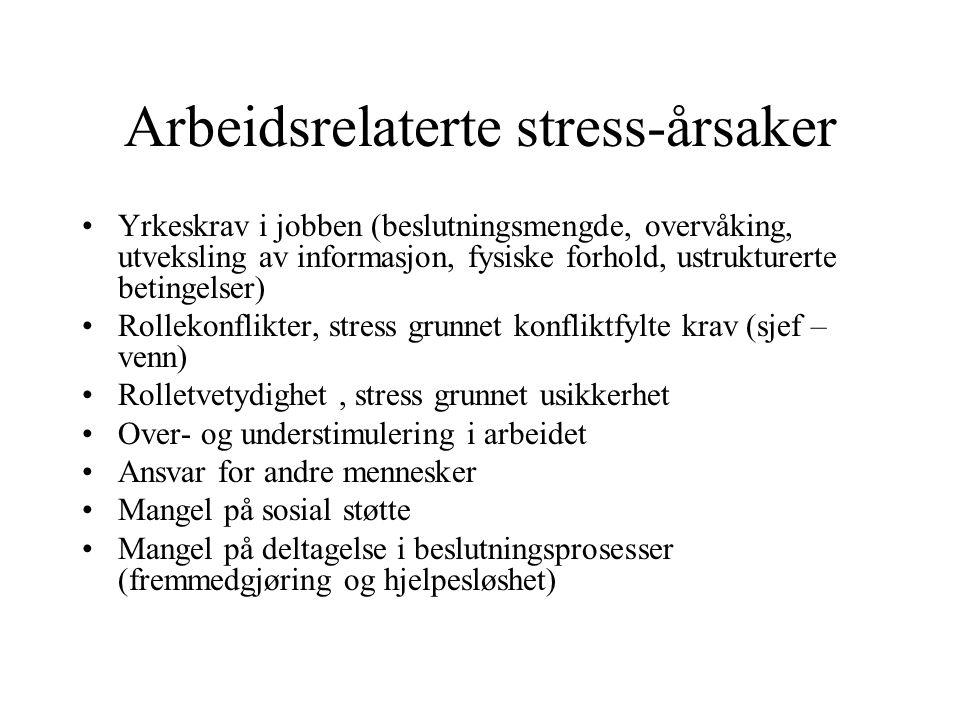 Arbeidsrelaterte stress-årsaker