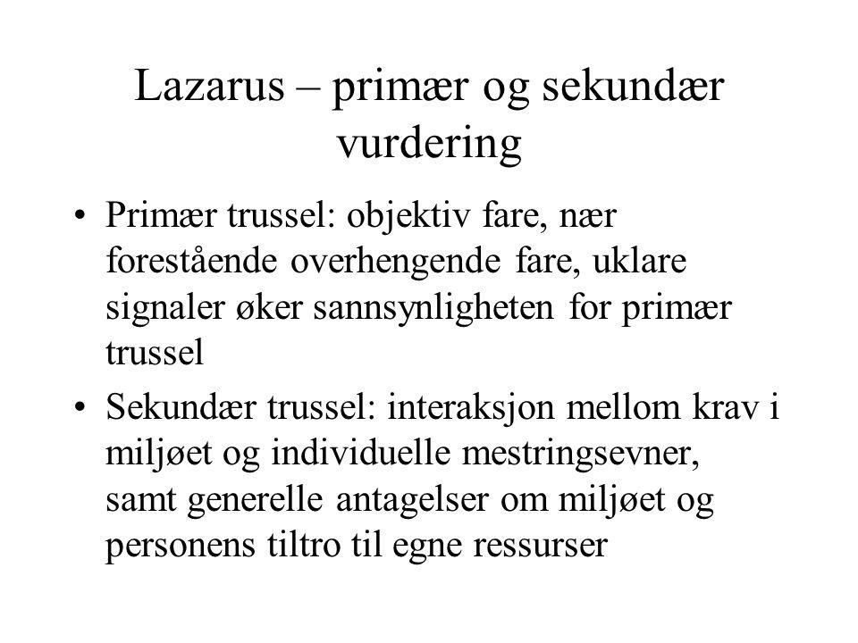 Lazarus – primær og sekundær vurdering
