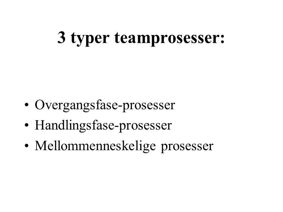 3 typer teamprosesser: Overgangsfase-prosesser Handlingsfase-prosesser