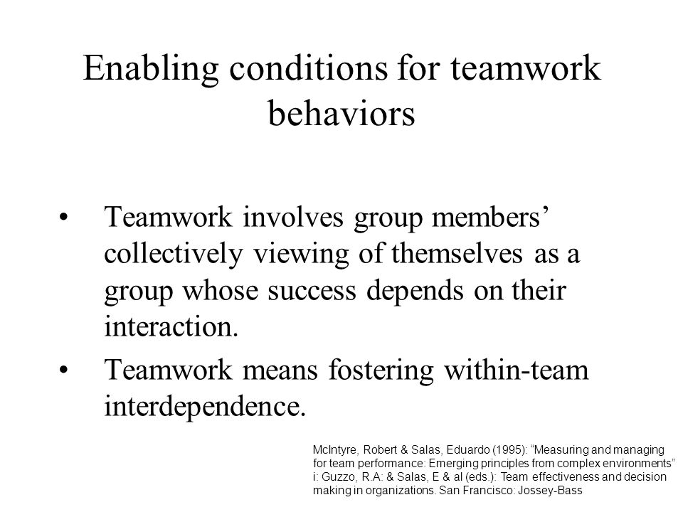 Enabling conditions for teamwork behaviors