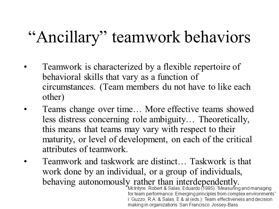 Ancillary teamwork behaviors