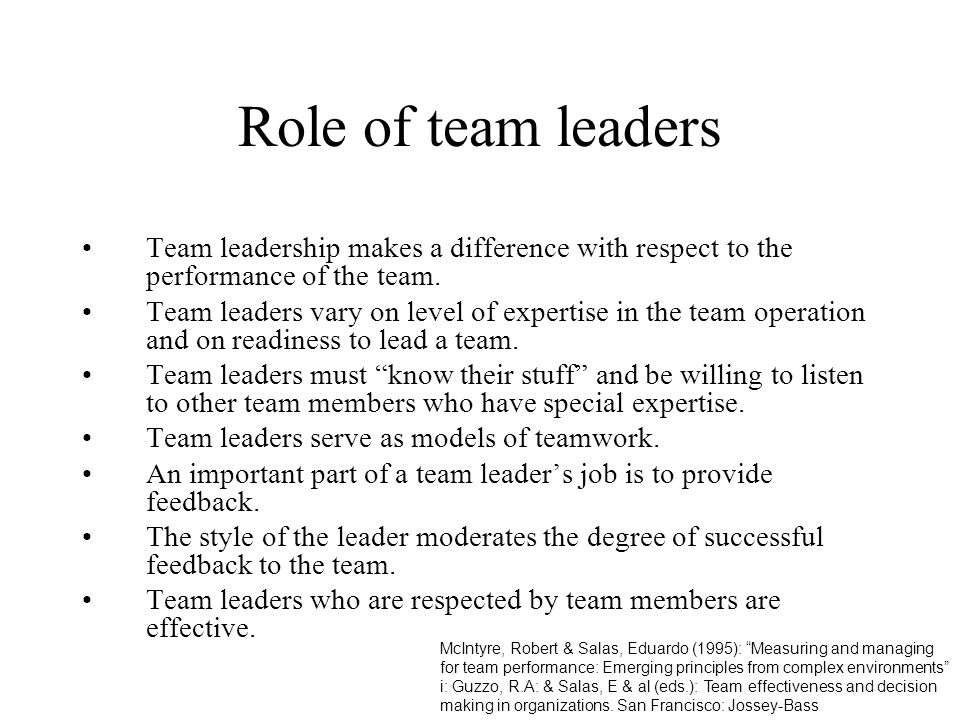 Role of team leaders Team leadership makes a difference with respect to the performance of the team.