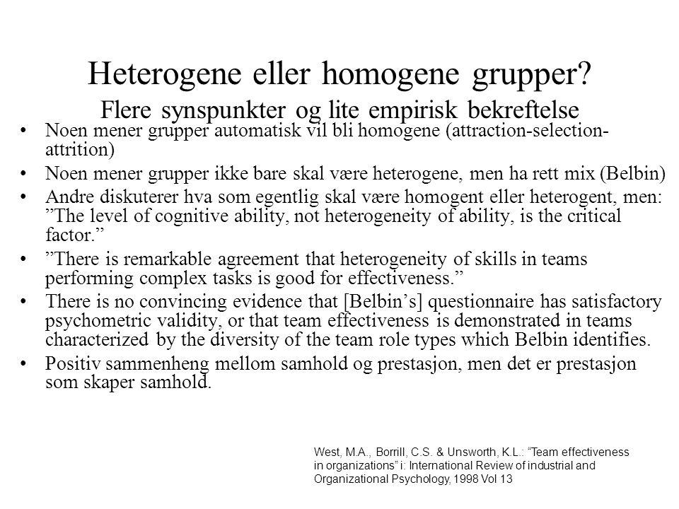 Heterogene eller homogene grupper