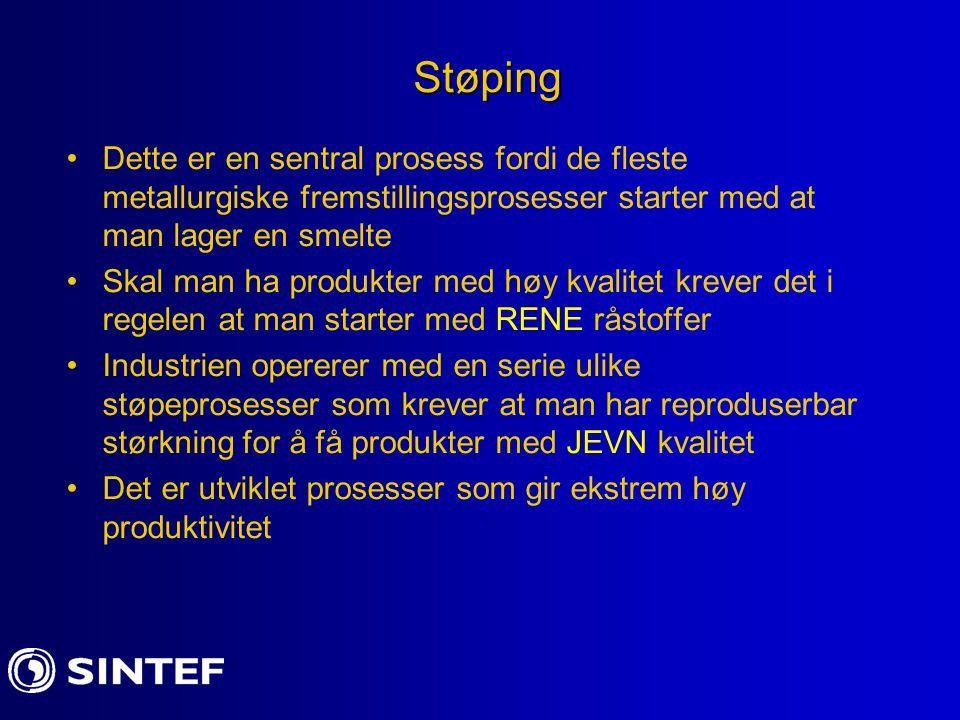 Støping Dette er en sentral prosess fordi de fleste metallurgiske fremstillingsprosesser starter med at man lager en smelte.
