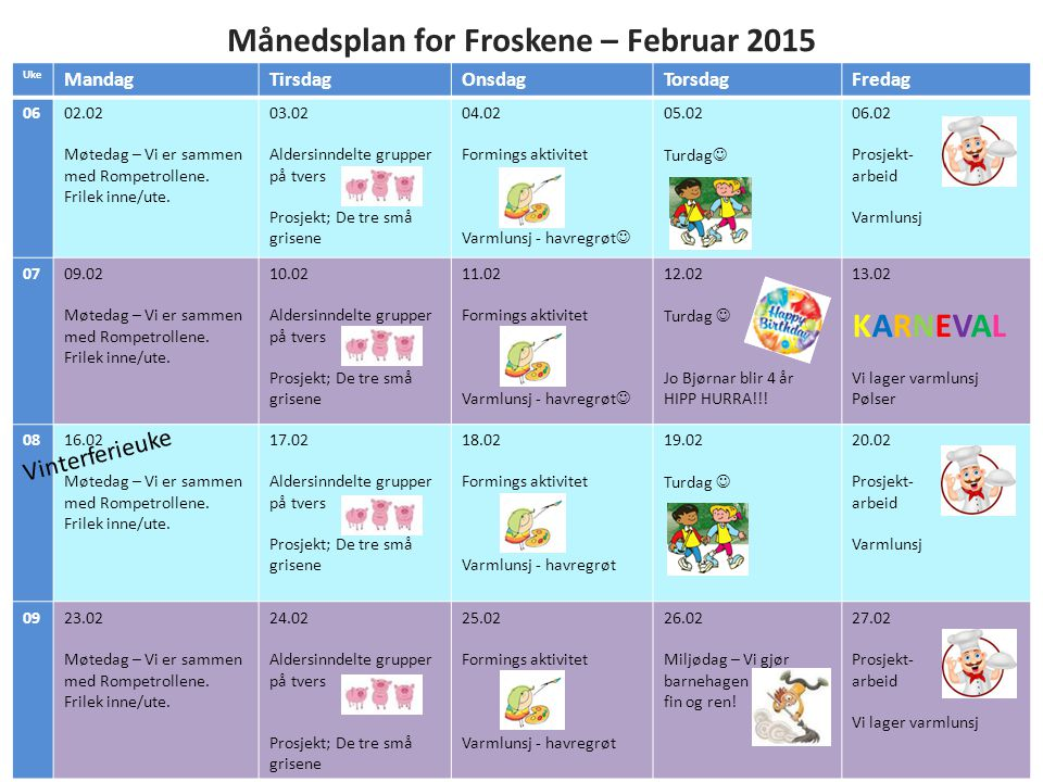 Månedsplan for Froskene – Februar 2015