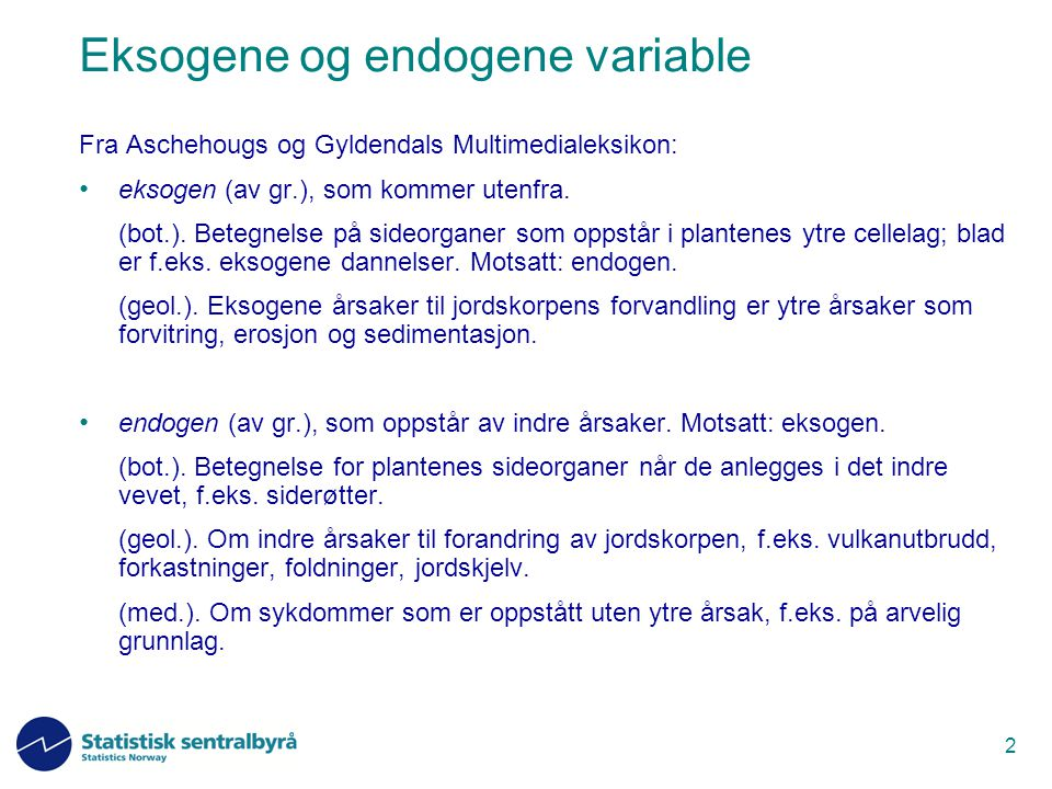 Eksogene og endogene variable