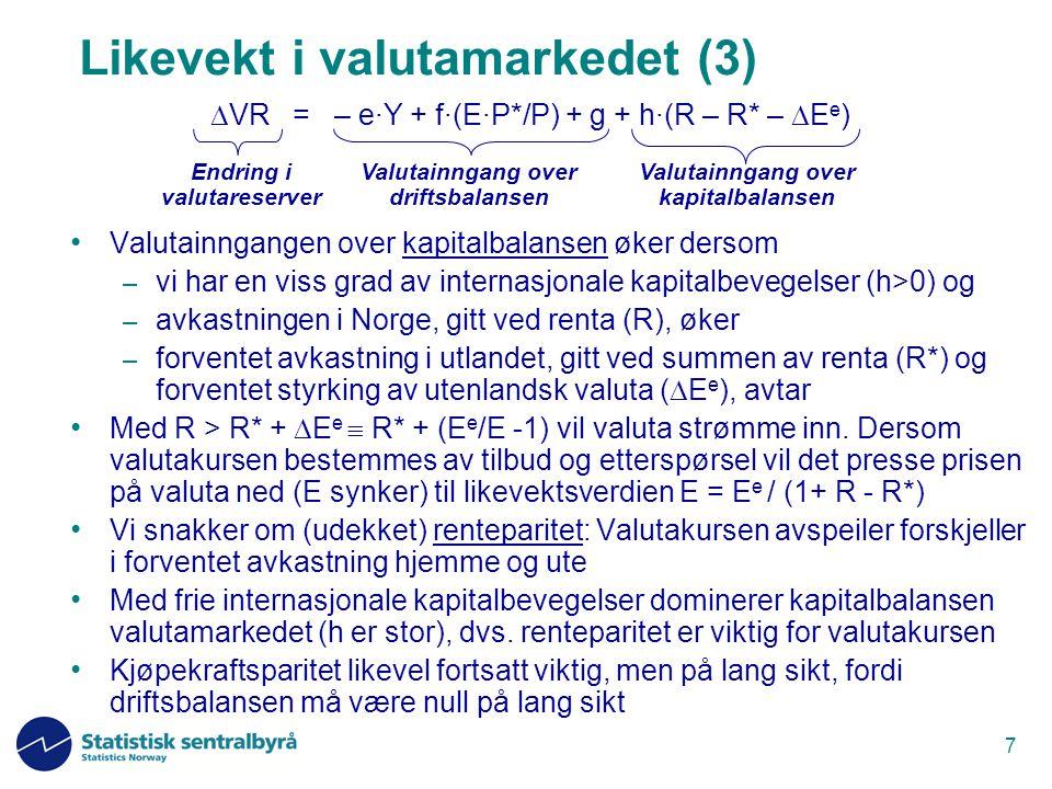 Likevekt i valutamarkedet (3)