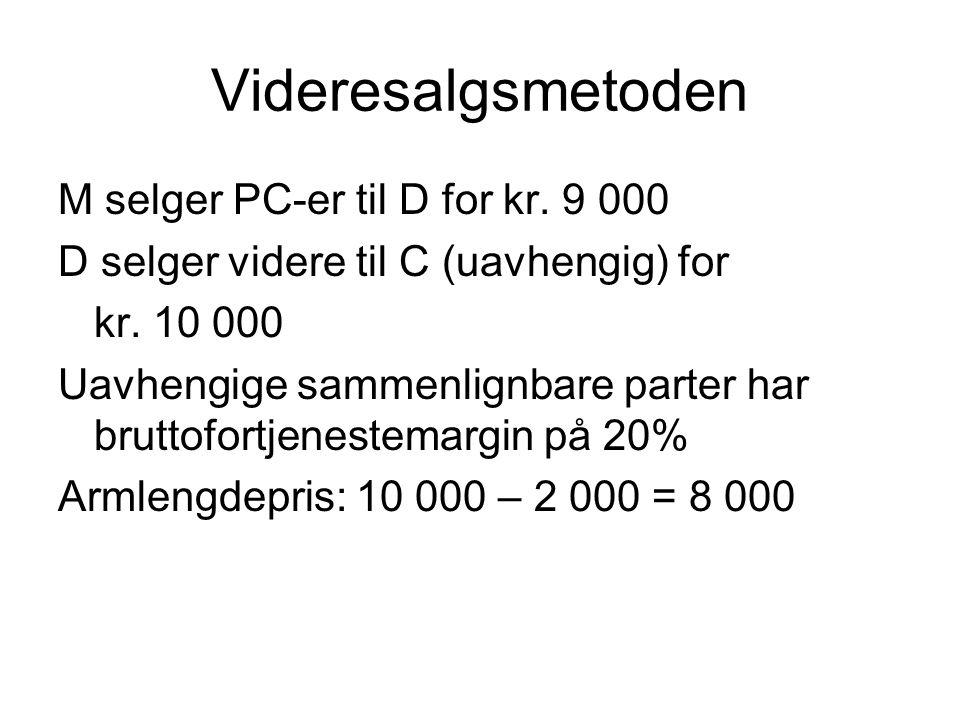Videresalgsmetoden M selger PC-er til D for kr. 9 000
