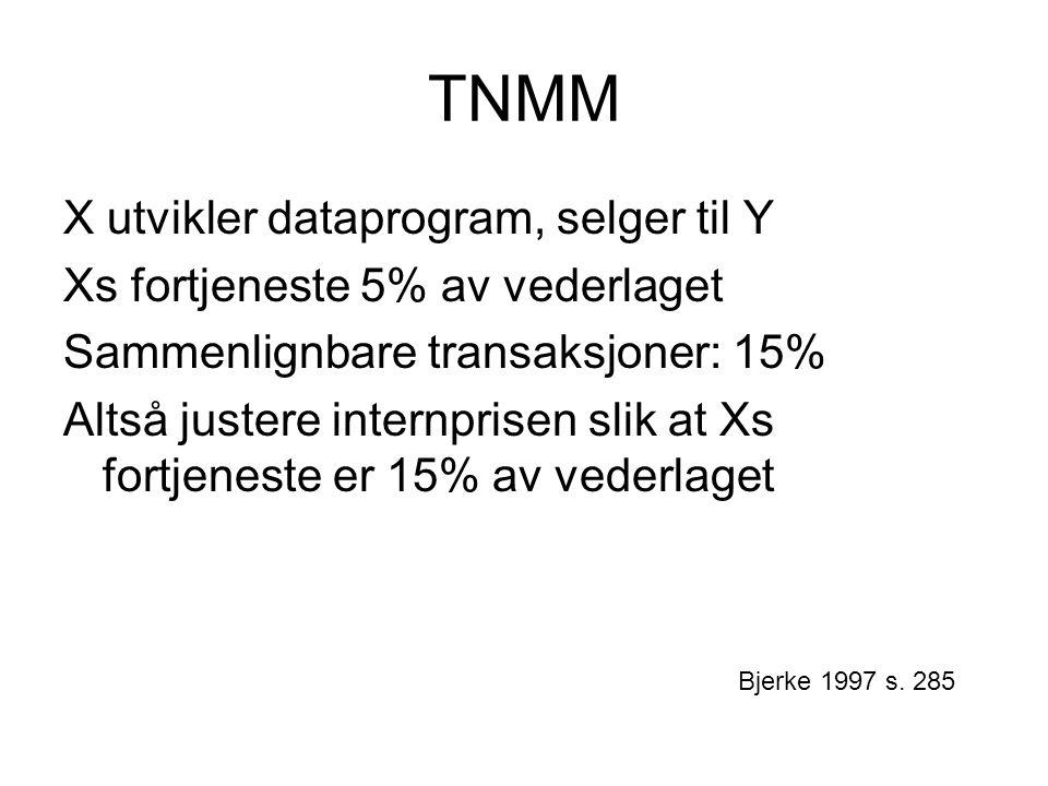 TNMM X utvikler dataprogram, selger til Y