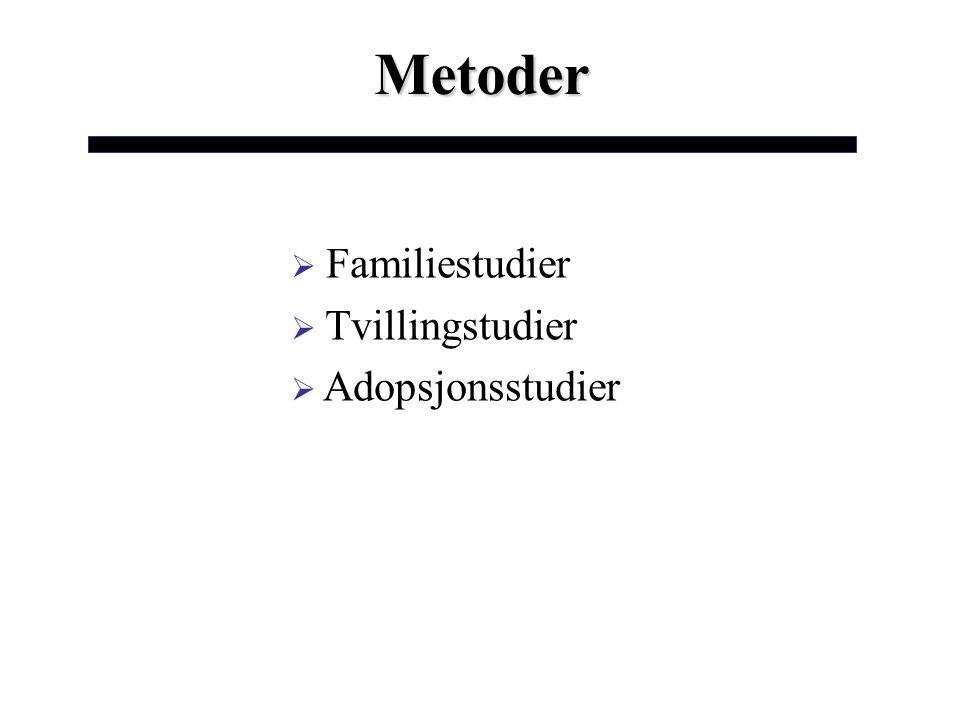 Metoder Familiestudier Tvillingstudier Adopsjonsstudier