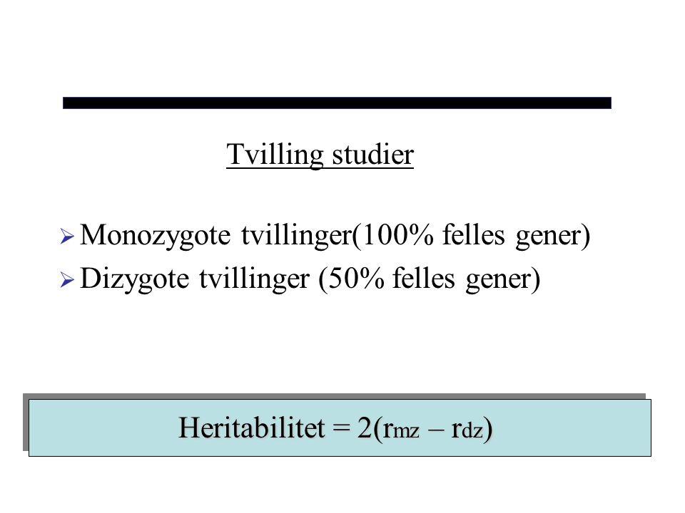 Tvilling studier Monozygote tvillinger(100% felles gener) Dizygote tvillinger (50% felles gener) Heritabilitet = 2(rmz – rdz)