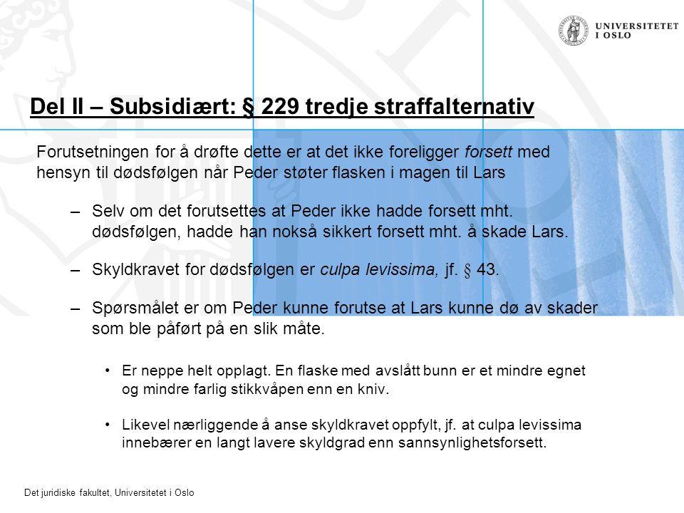 Del II – Subsidiært: § 229 tredje straffalternativ