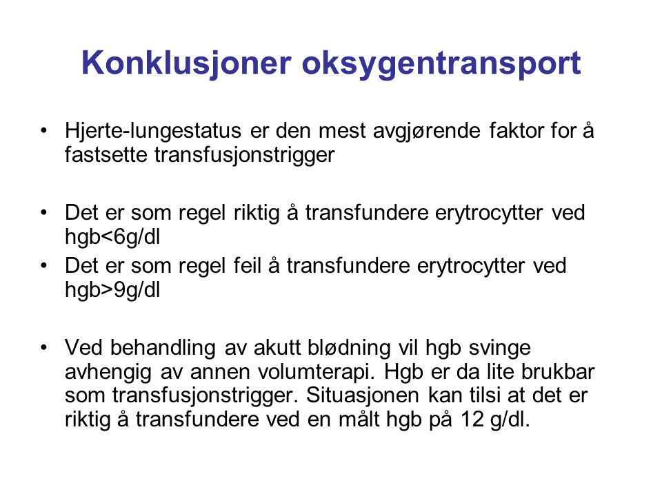 Konklusjoner oksygentransport