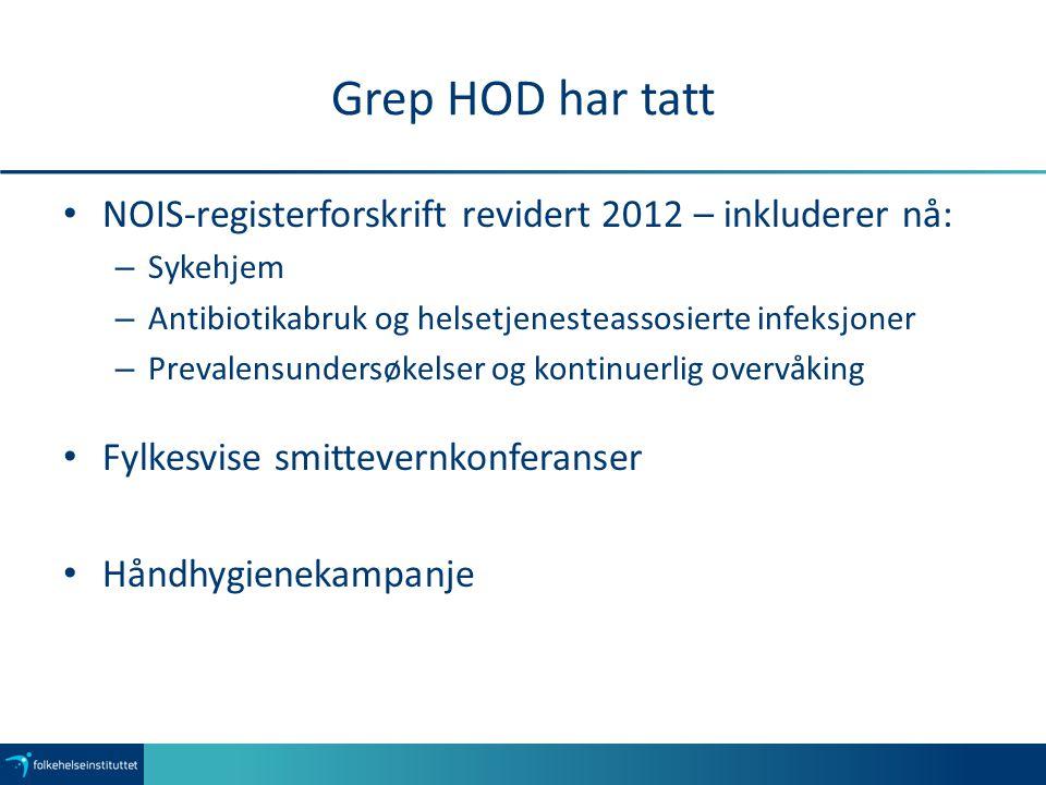 Grep HOD har tatt NOIS-registerforskrift revidert 2012 – inkluderer nå: Sykehjem. Antibiotikabruk og helsetjenesteassosierte infeksjoner.