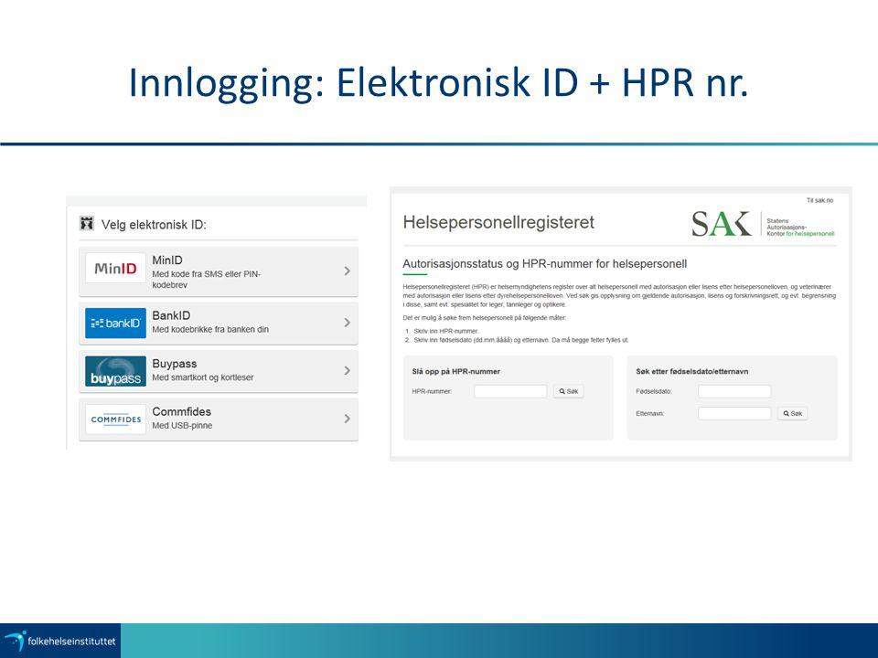 Innlogging: Elektronisk ID + HPR nr.
