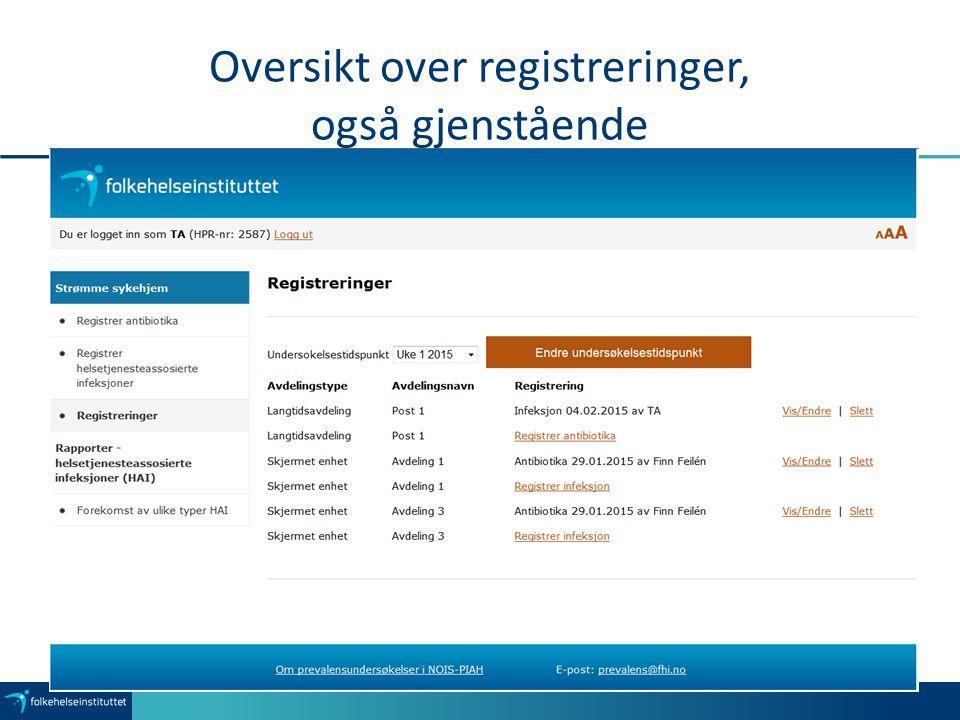 Oversikt over registreringer, også gjenstående