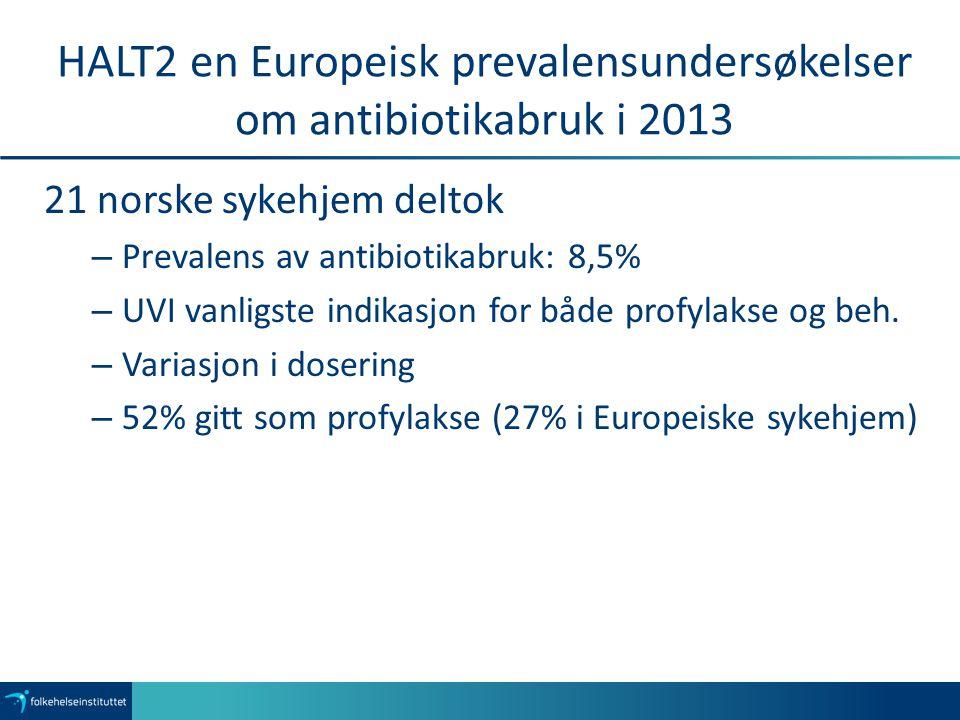 HALT2 en Europeisk prevalensundersøkelser om antibiotikabruk i 2013