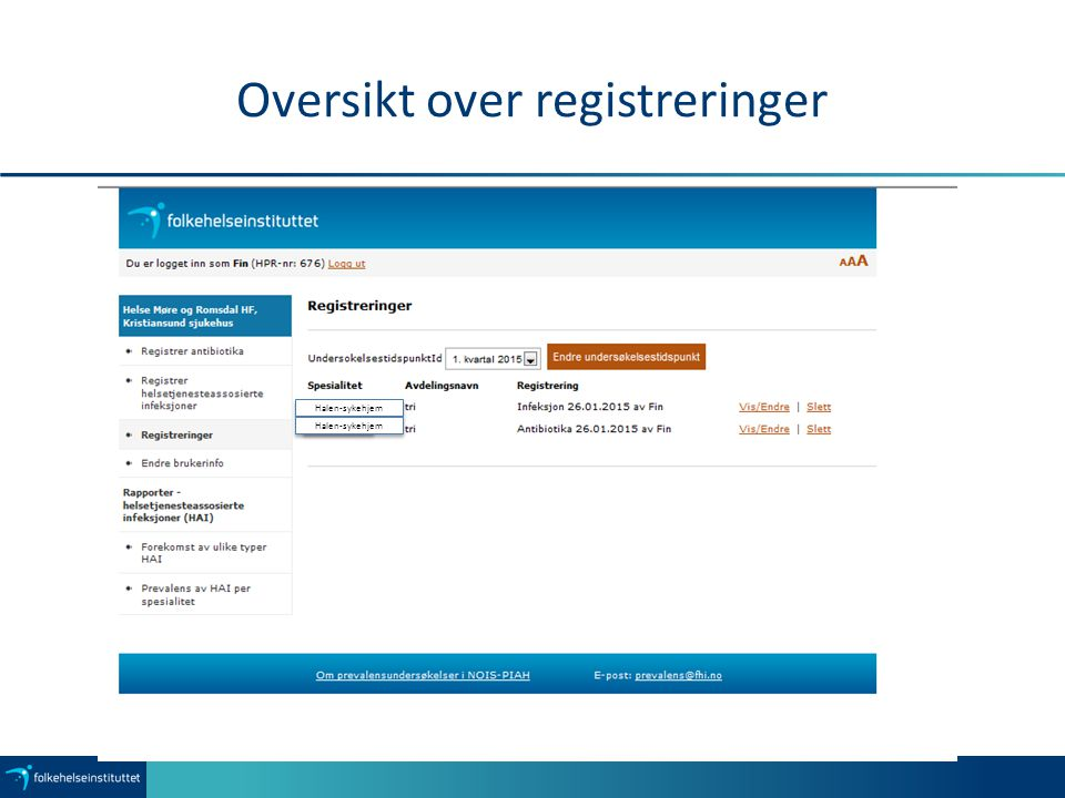 Oversikt over registreringer