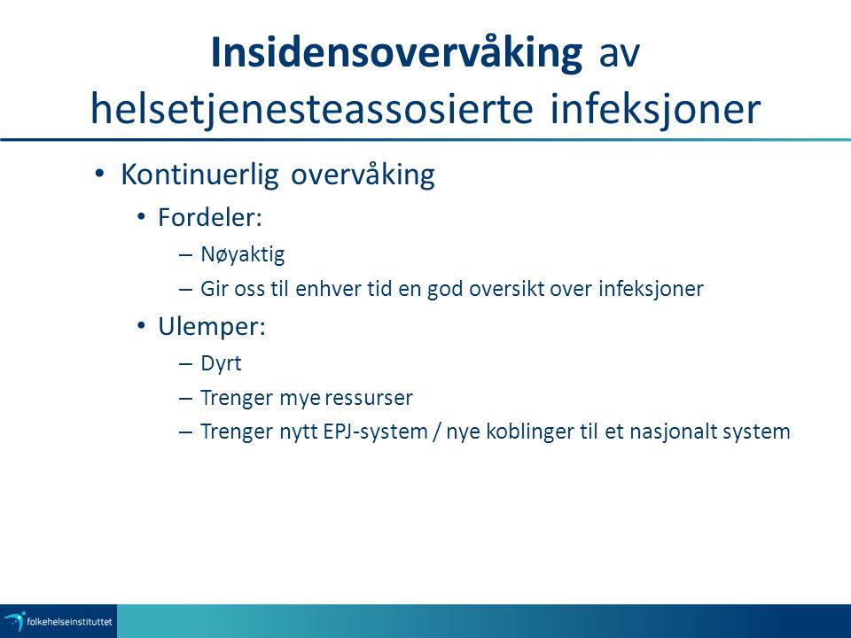 Insidensovervåking av helsetjenesteassosierte infeksjoner