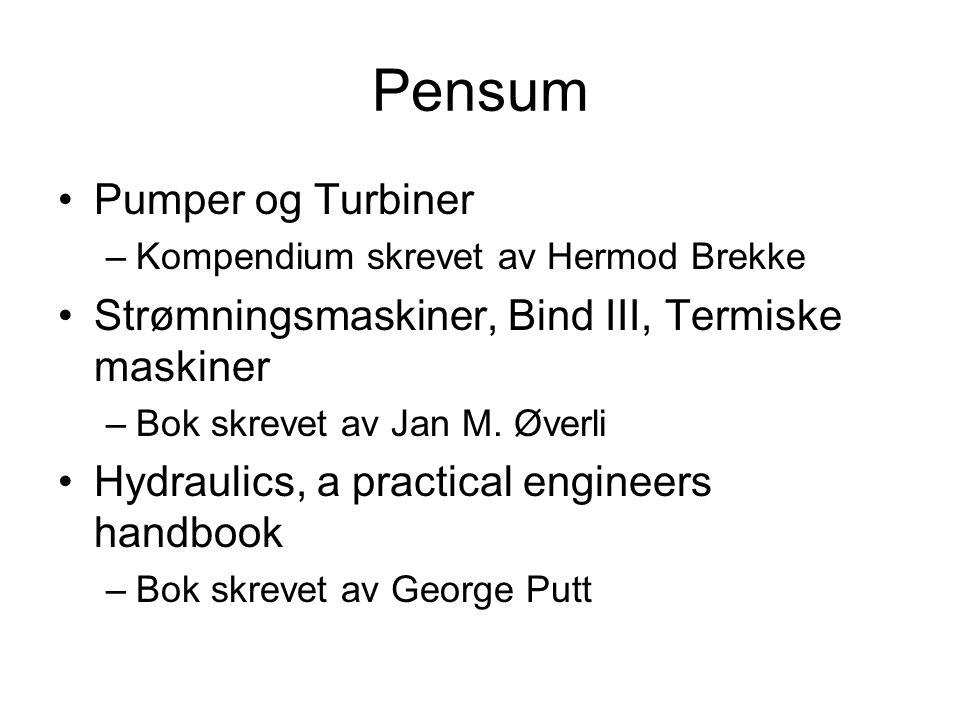 Pensum Pumper og Turbiner