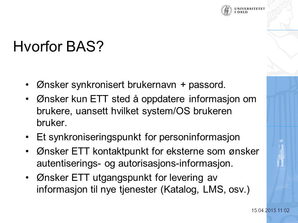 Hvorfor BAS Ønsker synkronisert brukernavn + passord.
